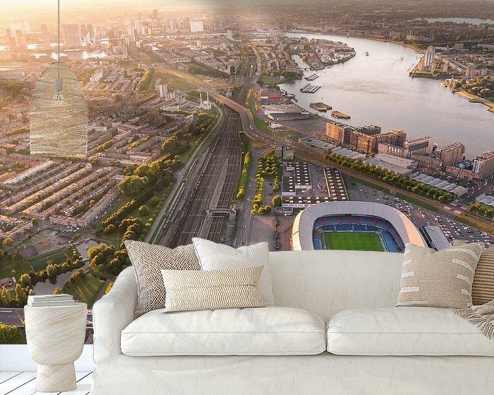 Sfeerimpressie behang: Luchtfoto Stadion Feijenoord - De Kuip - Feyenoord van Prachtig Rotterdam