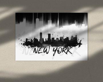 Graphic Art NYC Skyline II | black van Melanie Viola