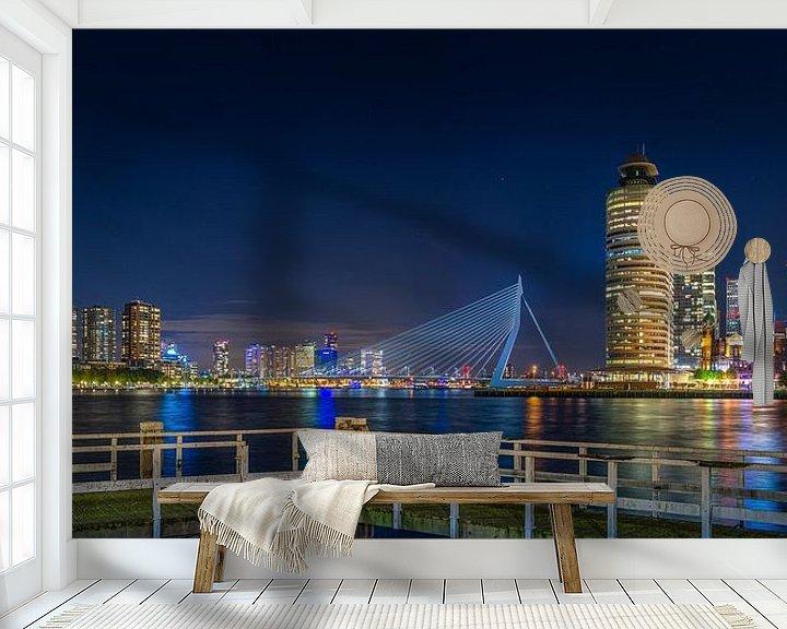 Sfeerimpressie behang: Rotterdam Wilhelminapier Erasmusbrug Panorama van Evert Buitendijk