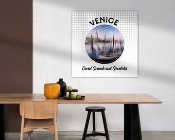 Graphic Art VENICE Canal Grande and Gondolas van Melanie Viola