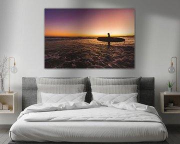 Surfen zonsondergang sur Andy Troy