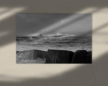 storm op de pier van Robbert goedhart