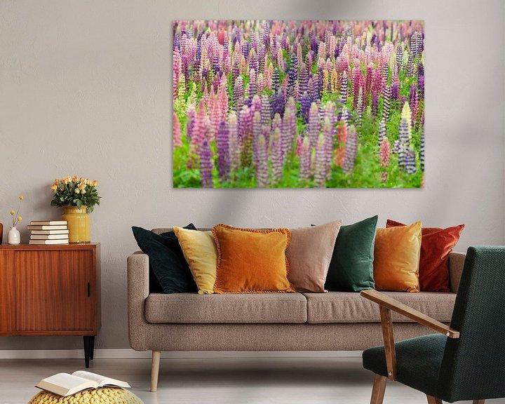 Sfeerimpressie: Bloemenveld met roze en paarse lupine bloemen van Caroline Piek