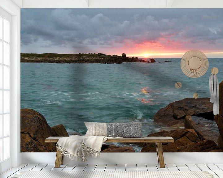 Sfeerimpressie behang: Landrellec sunset, Cote de granit rose van 7Horses Photography