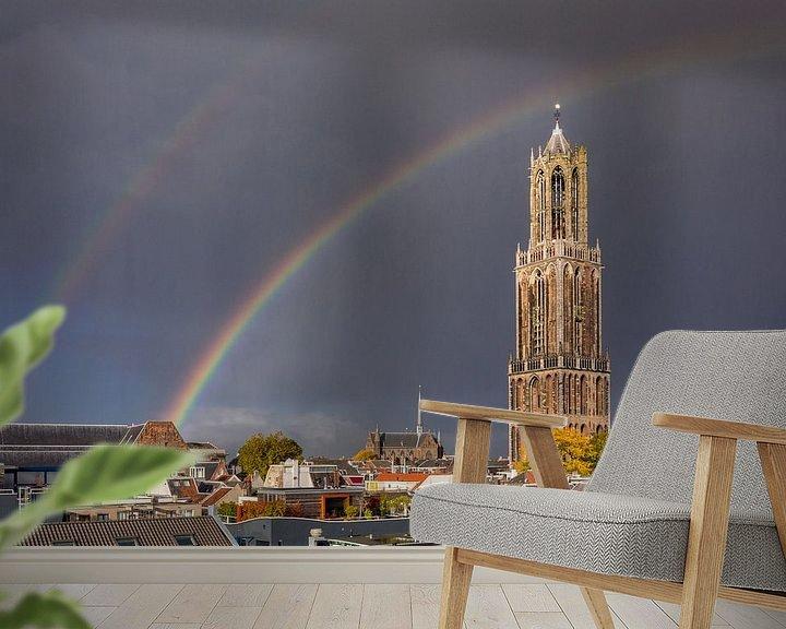 Sfeerimpressie behang: Utrecht - Dubbele Regenboog Dom Toren van Thomas van Galen