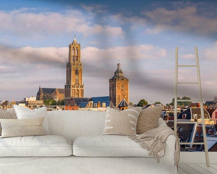 Sfeerimpressie behang: Utrecht - Domtoren zonsondergang van Thomas van Galen