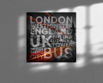 Graphic Art LONDON Westminster Bridge Traffic van Melanie Viola