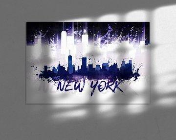Graphic Art NYC Skyline Splashes II | lila   von Melanie Viola