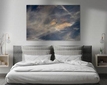 zeelucht met vogel silhouette - 2 van Arnoud Kunst