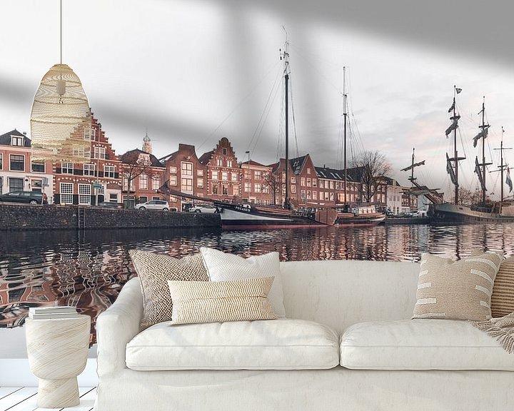 Sfeerimpressie behang: Haarlem: De Pegasus en  Soeverein. van Olaf Kramer
