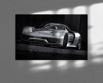Porsche Spider 918 schwarzweiß sur Martijn van Dellen