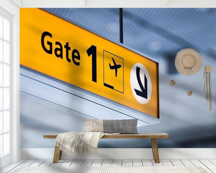 Sfeerimpressie behang: Vliegveld Eindhoven Airport van Bart van Eijden