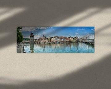 LUCERNE Chapel Bridge & Water Tower | Panoramic van Melanie Viola