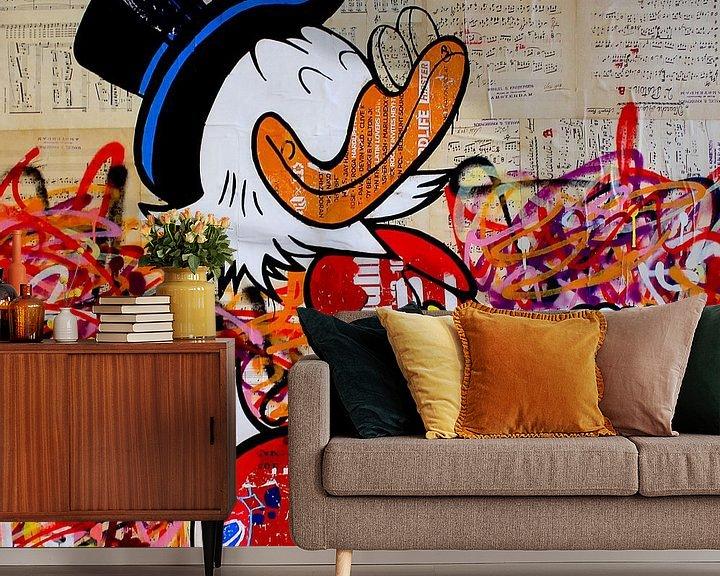 Sfeerimpressie behang: Dagobert for president (make Duckburg great again) van Michiel Folkers
