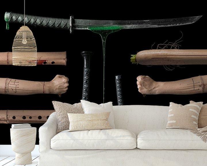 Sfeerimpressie behang: Shakuhachi Samurai van Olaf Bruhn