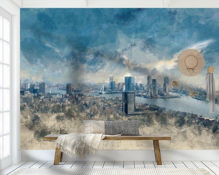 Sfeerimpressie behang: Skyline Rotterdam van Arjen Roos