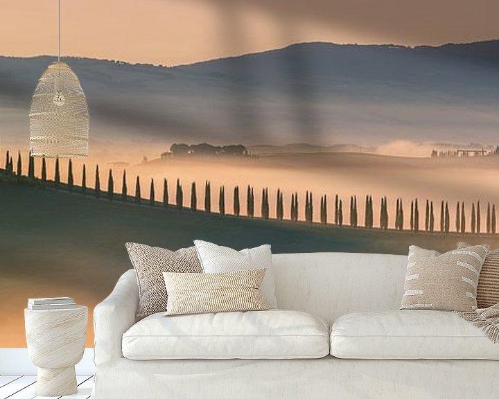 Sfeerimpressie behang: Zonsopkomst Agriturismo Poggio Covili, Toscane van Henk Meijer Photography