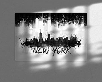 Grafische Kunst NYC Skyline Splashes II | zwart van Melanie Viola