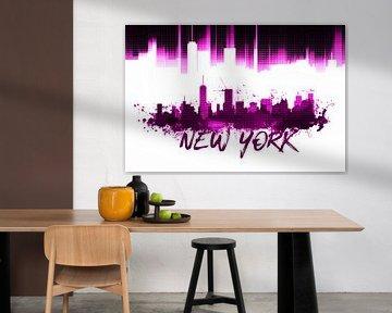 Graphic Art NYC Skyline | pink van Melanie Viola