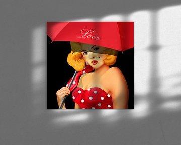 Pin-Up Girl unter rotem Regenschirm von Monika Jüngling