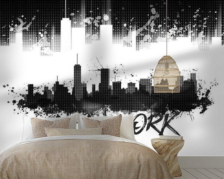 Sfeerimpressie behang: Grafische Kunst NYC Skyline Splashes | zwart van Melanie Viola