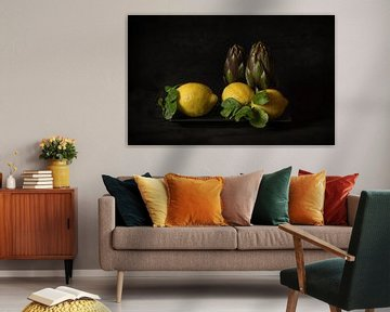 Stilleven citroen en artisjok von Monique van Velzen
