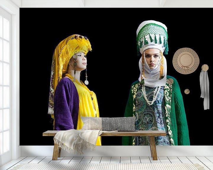 Sfeerimpressie behang: Modeshow Kirgizië van Bart van Eijden