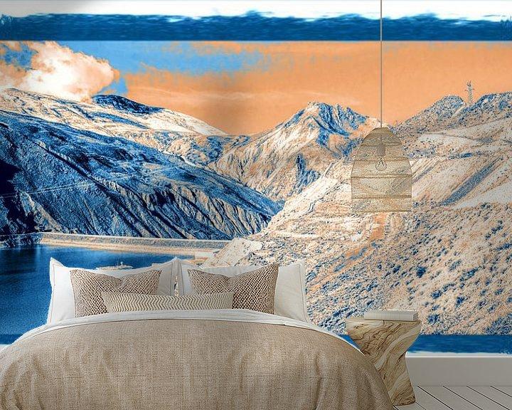 Sfeerimpressie behang: Stuwmeer in de Himalaya, Tibet van Rietje Bulthuis