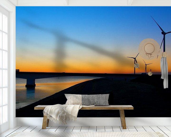 Sfeerimpressie behang: De Zeelandbrug. van Filip Staes