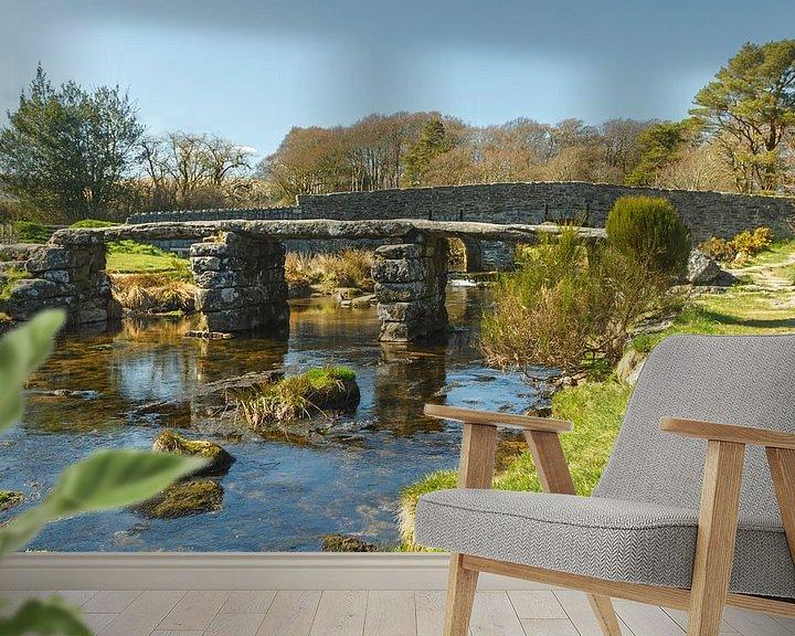 Beispiel fototapete: Historische Steinbrücke in Dartmoor National Park, England von Mieneke Andeweg-van Rijn