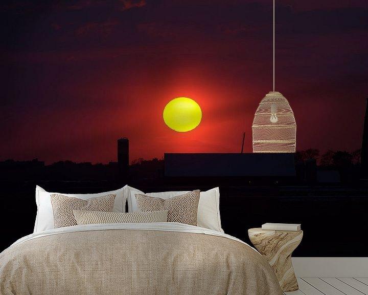 Sfeerimpressie behang: Sunset van Erik van Riessen