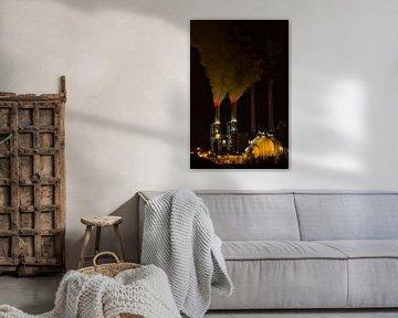 Nachtelijk werk Botlek Rotterdam von Guido Akster