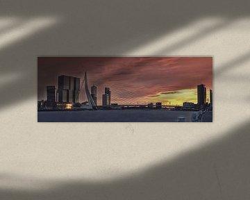 Panorama: De Erasmusbrug met de Rotterdam erachter RawBird Photo's Wouter Putter van Rawbird Photo's Wouter Putter
