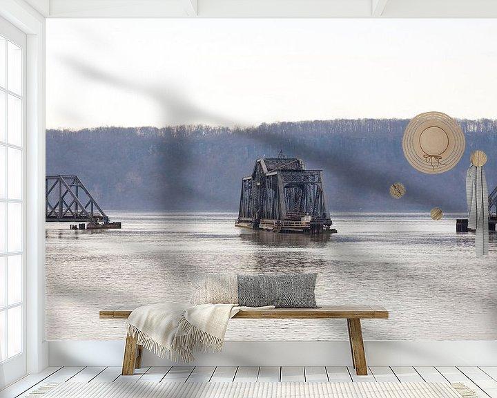 Sfeerimpressie behang: train Bridge New York van Guido Akster
