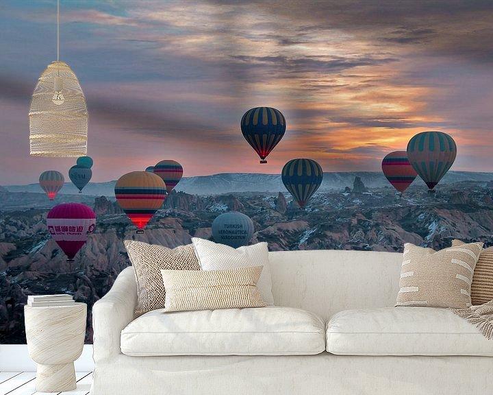 Sfeerimpressie behang: Ballonvaart Cappadocie  Turkije van Paul Franke