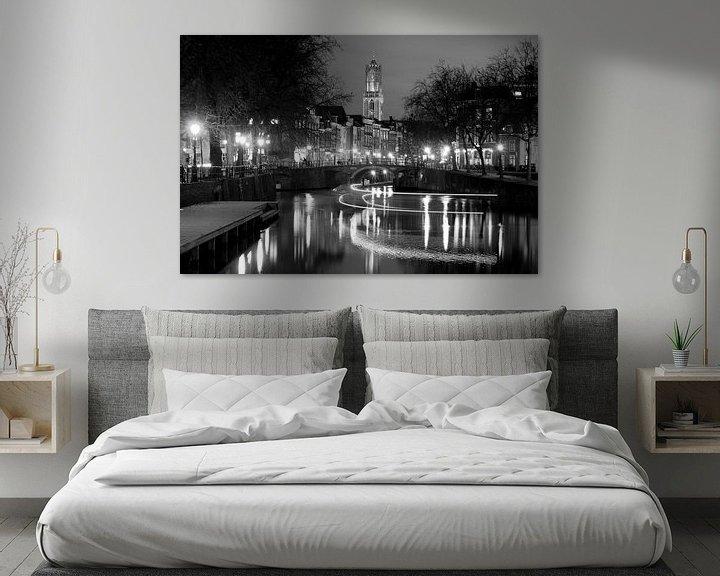 Beispiel: Zicht op Zandbrug en Oudegracht in Utrecht vanaf de Bemuurde Weerd, ZWART WIT von Donker Utrecht