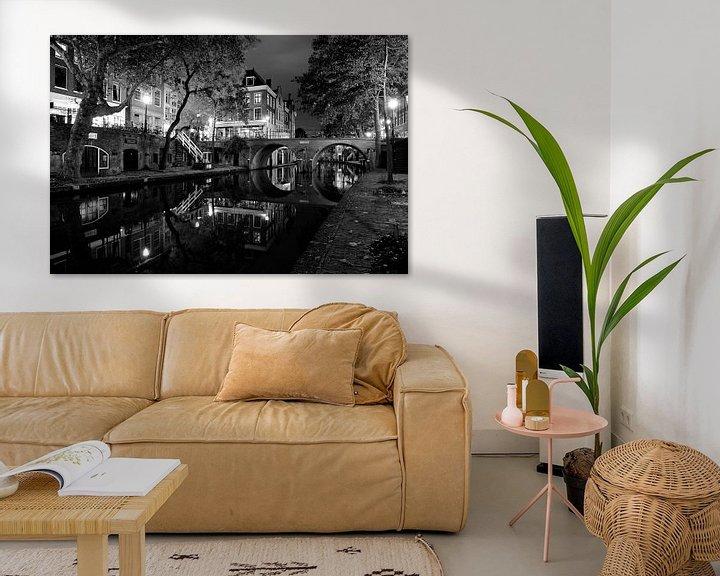 Sfeerimpressie: Oudegracht in Utrecht met Gaardbrug, ZWART-WIT van Donker Utrecht