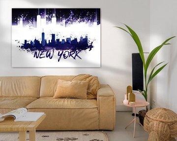 Graphic Art NYC Skyline Splashes | purple van Melanie Viola
