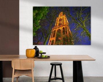 Utrecht met Oranje verlichte Domtoren van Erik de Geus
