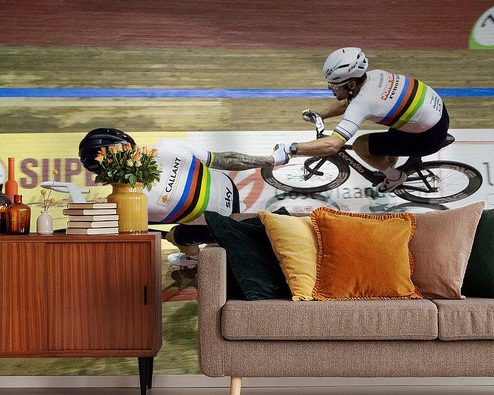Sfeerimpressie behang: Bradley Wiggins en Mark Cavendish 2 van Leon van Bon