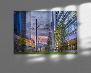 Zonsondergang, Delftsestraat, Rotterdam van Frans Blok