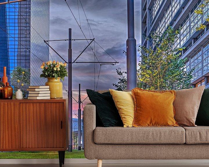 Sfeerimpressie behang: Zonsondergang, Delftsestraat, Rotterdam van Frans Blok