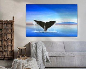 Whale auf Ozean mit einer Insel von Jan Brons