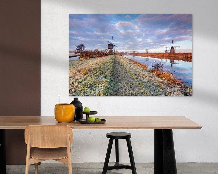 Sfeerimpressie: Wintermorgen in Kinderdijk van Ilya Korzelius