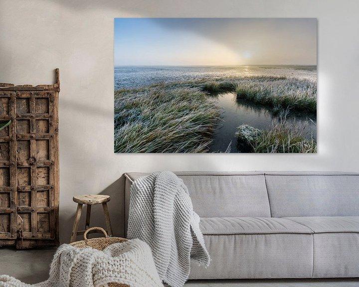 Sfeerimpressie: Het bevroren Wad, Paesens-Moddergat. van Ton Drijfhamer