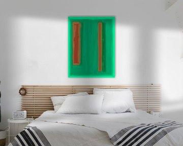 Abstract schilderij met groen en oranje van Rietje Bulthuis