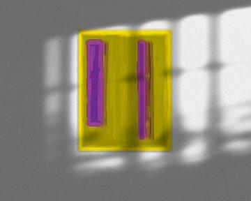 Abstract schilderij met geel en paars van Rietje Bulthuis