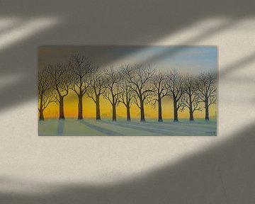 Bomenrij in de winter met opkomende zon. Acryl schilderij van Marlies Huijzer.