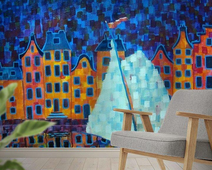 Sfeerimpressie behang: Amsterdam van Janny Heinsman