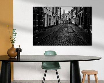 De Haverstraat richting Springweg in Utrecht in zwart-wit van De Utrechtse Grachten